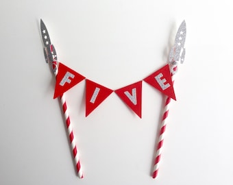 Personalised Birthday Bunting Cake Topper Space Rocket Red and Silver Glitter