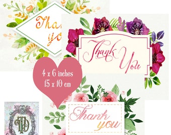 6 Water Colour Thank You Tags Set 2