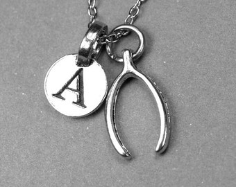 Wishbone Necklace, lucky charm, antiqued silver plated pewter, initial necklace, initial hand stamped, personalized, monogram