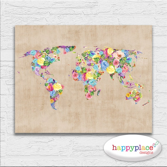 Vintage style watercolour floral theme world map poster gumiabroncs Images
