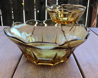 Vintage Glass Chip and Dip Set - Swedish Modern Amber by Anchor Hocking