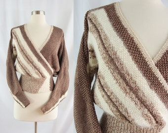 Vintage 80s Brown and White Stripe Faux Wrap Sweater - Eighties Dolmen Sleeve Cinched Waist Crop Top - Deep V Knit Top - S / M - Batwing