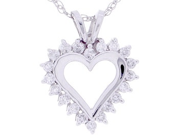 Diamond Heart Necklace, 0.15ct, 14K Gold (14N423)