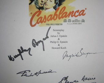 Casablanca Signed Movie Film Script Screenplay Autographs Hempfry Bogart Ingrid Berman Claud Rains Paul Hendred Sydney Greenstreet signature