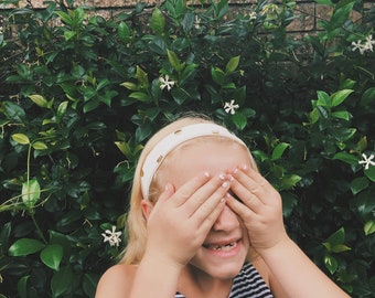 gold dot kids headband