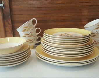 Autumn Gold Semi Vitreouis Dinnerware Century Service Corp Alliance Ohio Mid Century Modern Farmhouse, Vintage China Set, Wedding Gift