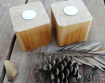 pair of Recycled wood tea light candle holder