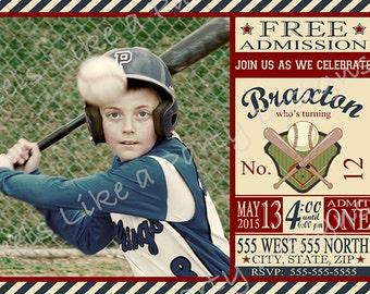 Custom Baseball Birthday Invitation with Photo