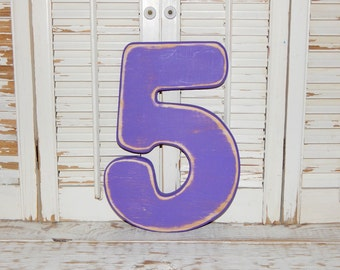 """Number 5 Distressed Numbers Wall Decor Birthday Photo Props Wood Numbers 12"""" Tall"""