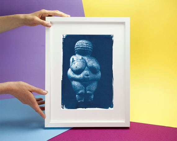 Venus of Willendorf Prehistoric Relic, Cyanotype Art Print on Watercolor Paper, Maternity Gift, Baby shower art, Pregnancy gift, Feminist