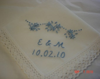 Something blue wedding handkerchief/flowers overhead/bride and groom initials/hand embroidered/