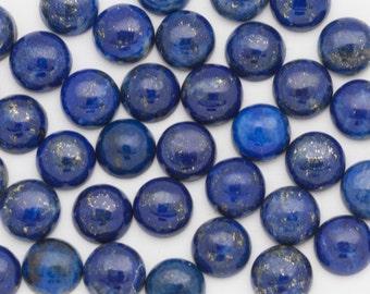 TWO 6mm Round Blue Lapis Lazuli Cabochon | Round Lapis Cabochons | 6mm Lapis Cabochons | Lapis Golden Pyrite