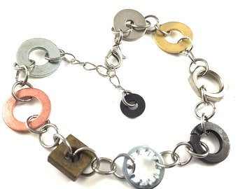 Chain Bracelet Mixed Metal Hardware Jewelry Industrial Eco Friendly