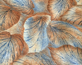 """Leaf Print Polyester Blouse or Scarf Fabric 60"""" wide fabric, Great Drape, Sold by the yard, sewrm"""