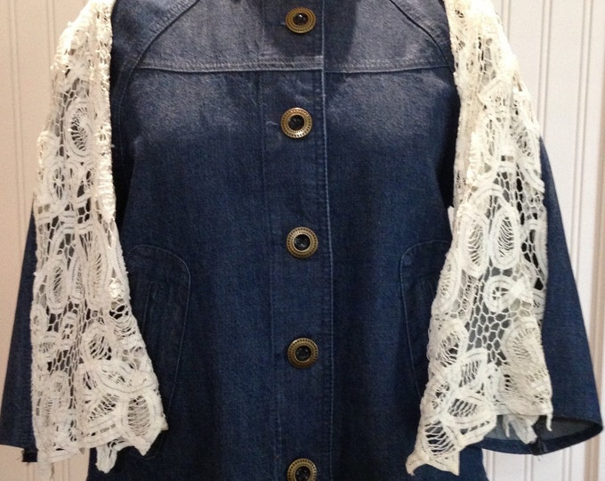 Women denim jacket upcycled denim jacket battenberg lace sleeves lace back inset Womens size small to large repurposed denim boho chic wear