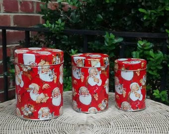 Santa Claus nesting tins set of three Christmas cannisters kitchen storage 3 tin boxes