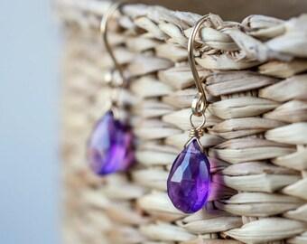 Natural Amethyst Dangle Earrings, February Birthstone Purple Amethyst Earrings, Leverback earrings: 14K Rose Gold Filled Sterling Silver