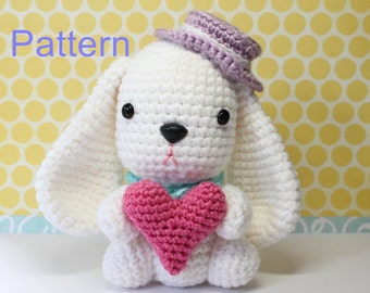 Crochet Amigurumi Cute White Puppy Bunny Doll PDF Pattern Stuffed Toy