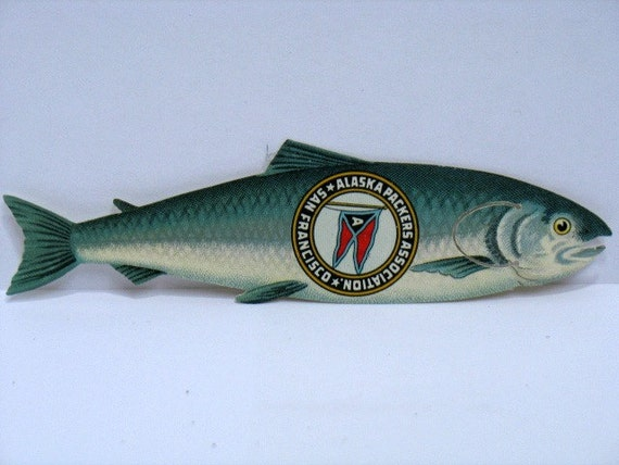 Alaska Packers Association Fish Shaped Bookmark, Alaskan Celluloid Advertising Salmon