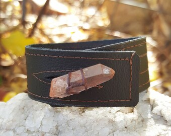 Brown Leather Cuff-Pay with PayPal get a free spell in the box! Raw Rose Quartz Crystal-Upcycled Leather-Standard Med Uni 6.5, 7 in