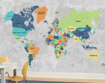 World Map Wall mural, Wallpaper, Wall décor, Wall decal, Nursery and room décor, Wall art