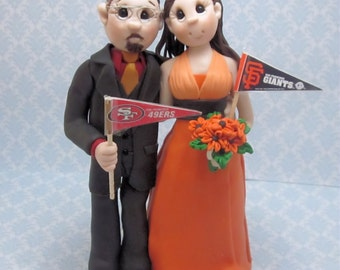 Custom wedding cake topper, personalized cake topper, Bride and groom cake topper, Mr and Mrs cake topper, sports themed wedding cake topper