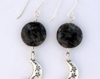 Black Labradorite and Pewter Moon Earrings