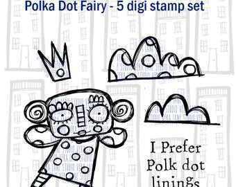 Polka Dot Fairy -- 5 digi stamp set