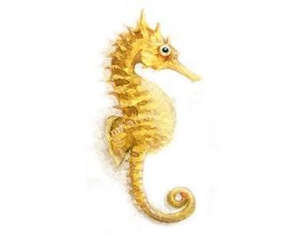 Watercolor Seahorse, Seahorse Art Print