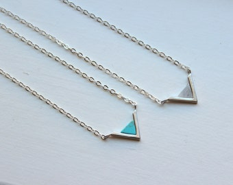 Silver Triangle Necklace Triangle Jewelry Geometric Necklace Turquoise Labradorite Marble Minimalist Jewelry Dainty Necklace Gift for Her