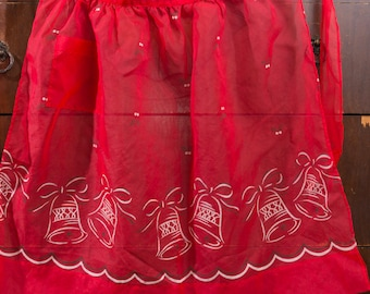 Vintage Red Christmas Hostess Apron, 1960s, Flocked Organza, Christmas Bell Print, Sheer Polyester