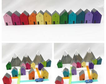 Set of twelve Rainbow Houses pretend play storytelling child decor block area train table town city tiny home village wanderlust wood toy
