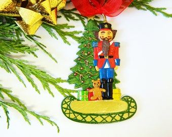 Christmas Tree Decorations - Nutcracker with Xmas Tree - Flat Pewter Miniature - Hand Painted on both sides - ED1907