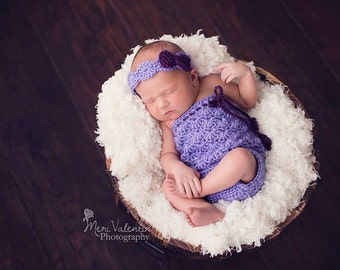 Crochet newborn baby Shelley Lacey romper photo prop Infant sizes - Custom made to order
