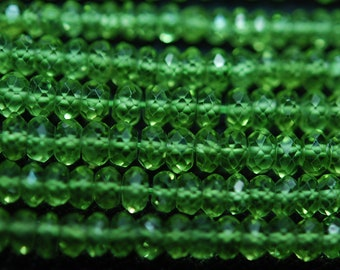 Gems Quality Strand, 14 Inches Strand, AAA Super Rare Peridot Faceted Rondelles Large Size 4.5mm
