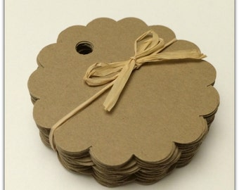 Round Scallop Favor Tags