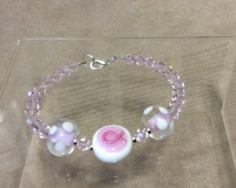 Breast Cancer Awareness Ribbon Bracelet Lampwork Crystal Beads  CL1586B
