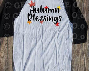 Autumn's Blessings T-shirt Adult Raglan Baseball Tee  Vinyl Unisex Cotton Fall Leaves Lattes Pumpkin Spice
