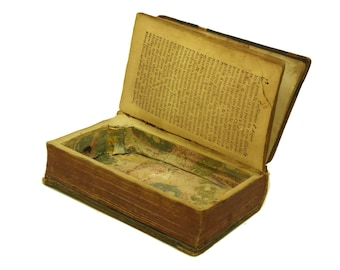 French Antique Book Box Jewelry Casket. Secret Safe Storage & Stash Box. Leather Book Library and Office Decor. Book Lover Gift.