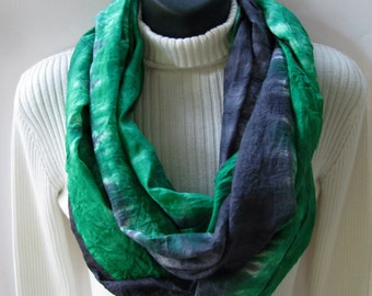 Emerald Green and Black Infinity Scarf circle cowl scarf for Women-winter Holiday Scarf Fashion Silk Scarf- Handmade Fashion Accessory