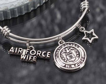 Air Force Wife Bracelet, military charm bracelet gift, air force wife jewelry, military bracelet with charms, charm bracelets for women