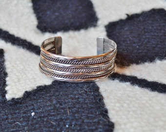 Big Sterling Silver Cuff Wide Navajo Hand Stamped with Twisted Wire Bracelet