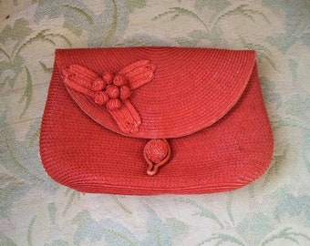 40s 50s straw clutch purse, embossed flowers, satin lining, Garay, Italy / SMALL clutch bag, date purse