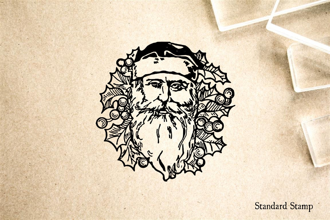 Line Drawing Santa Face : Old world santa face rubber stamp inches