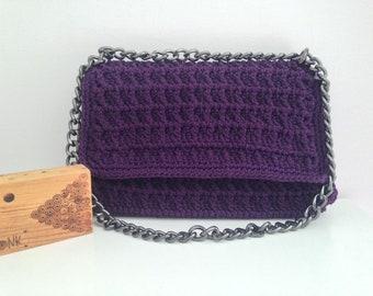 Purple Crochet Bag - Waffle design