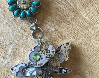 Gear dragonfly necklace