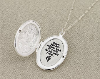 Silver Oval Locket Necklace, Custom Engraved Locket Necklace, Engraved Necklace, Customized Necklace, Personalized Silver Necklace