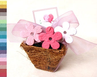 10 Baby Shower Favors Seed Planting Pots with Flower Seed Paper Confetti - Garden Wedding Party Tea Party Spring Planters