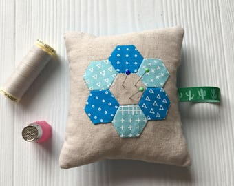 Hexagons pin cushion, sewing gift, gift for her
