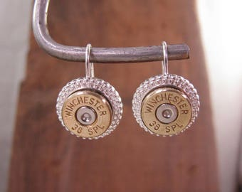 Bullet Earrings - Bullet Jewelry - Fancy Silver Plated French Wire Bullet Earrings - Classy - A Step Up from Basic Bullet Studs / Leverbacks